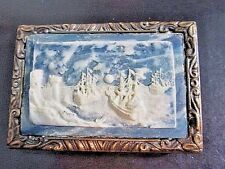 INCOLAY STONE RAISED BELT BUCKLE BLUE WHITE WATER BOATS CARVED INCOLAY STUDIOS