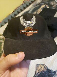 Vintage 90s Youth Snapback Hat Biker Harley Davidson Eagle Snapback Live to Ride