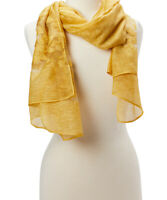 Women Gold Floral Scarf Viscose Shawls Wrap Sheer Long Scarves Wrap Long Stole