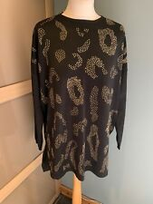 qed london Black & Gold Top With Embellishments Size M