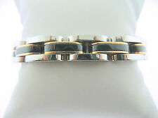 Men's Stainless Steel Plated Black and Rose Gold Solid Link Bracelet  9 Inches