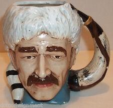 DAVY CROCKET Frontiersman Hand Painted Mug Cup Jug Horn Handle Vtg