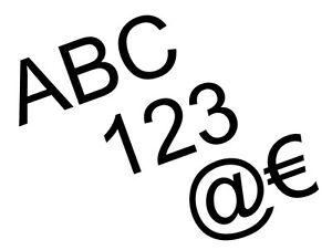 10 Buchstaben Zahlen Sonderzeichen selbstklebend Aufkleber ver Größen & Farben