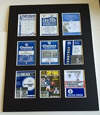 "Chelsea Retro Football Programmes Mounted Picture 14"" By 11"" Free Postage"