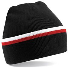 Black White Red Woolly Beanie Hat In Brentford FC Team Colours - One Size