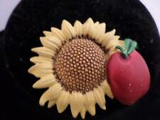 Tona Pin Brooch Apple Sunflower Enameled Gold Tone Signed