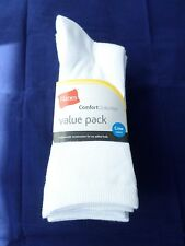 5 Pack Hanes Crew Comfort Collection Value Pack Socks White Great Quality!! 8-12