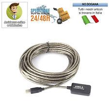 PROLUNGA USB 5 METRI CAVO MASCHIO FEMMINA 2.0 PC COMPUTER 12Mbps AMPLIFICATA