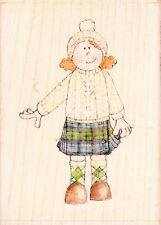 KILT GIRL - Jolly Nation - Wood Mounted Rubber Stamp