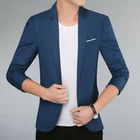 Chic Men Blazer One Button Lapel Solid Slim Fit Korean Youth Casual Coats Jacket