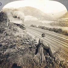 Keystone Stereoview a Train on Horseshoe Curve, PA From Rare USA 100 Set #10 NM