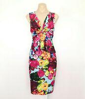 MEI MEI Dress Size 16 Colourful Bold Floral Print Peplum Pencil Stretch Knot EUC