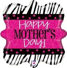 """Happy Mothers Day Zebra 18"""" Holographic Foil Balloon"""