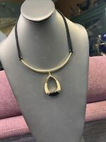"Bohemian Black Cream Pendant Necklace Leather Chain necklace 18"""