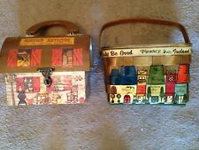 Lot Of Two Vintage Decoupage And Wooden Purses