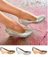 Señoras Diamante Zapatos Tacón Cuña De Cristal Mid cómoda Fiesta resbalón en las cuñas Talla 3-8