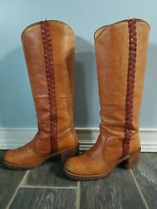 Vintage Frye Saddle Tan Braided Leather Campus Riding Boots Knee High 7.5 B
