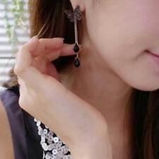 Moda Pendientes De Largo Mariposa De Negro Diamante Cristal Borla Gota Colgante