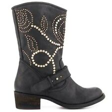 Guess Esperanz Floral Studded Western Black Leather Mid Calf Boots Size 5.5