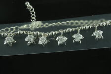 Silver rose ankle chain anklet adustable silver tone summer jewellery