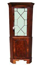 English Georgian Choice Mahogany Paneled Corner Cabinet Chippendale Cupboard