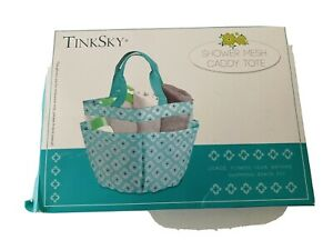 TinkSky blue/white shower mesh caddy tote