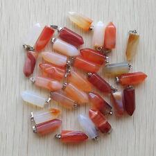 Fashion Natural Red Onyx Pendulum Pillar charms Pendants 24pcs/lot Wholesale