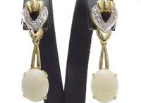 Ohrringe earrings 585 GOLD 14 Karat Brillanten Diamanten Milchopal Opal opale or