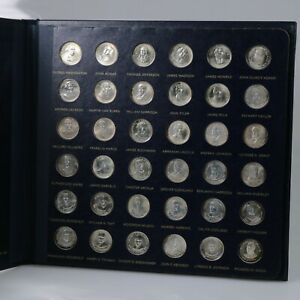 THE FRANKLIN MINT, TREASURY OF PRESIDENTIAL COMMEMORATIVE MEDALS SET, SILVER + 4