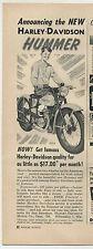 "Vintage 1955 HARLEY-DAVIDSON MOTORCYCLES ""HUMMER"" Half-Page Ad"