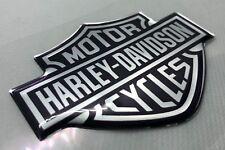 1 Stck. Harley Davidson Logo 3D gewölbte Aufkleber. Silber Schwarz.