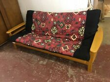 WOODEN FRAMED FOLD DOWN DOUBLE FUTON SOFA BED INDONESIAN