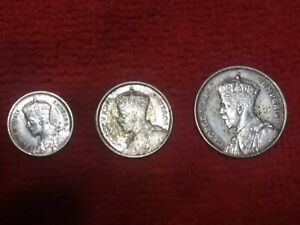 Lot of 3 New Zealand Silver Coins Schilling 1933 Six Pence 1934 3 Pence 1934