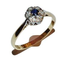 Vintage 18ct Yellow Gold, Sapphire & Diamond Cluster Ring - UK Size: P