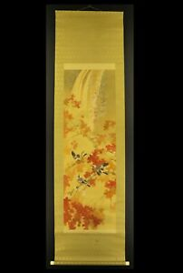 """JAPANESE HANGING SCROLL ART Painting """"Birds and Red leaves""""   #E6338"""