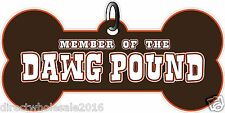 """Member of the Dawg Pound Cleveland Brown And Orange Dog Tag 8"""" Decal Sticker"""