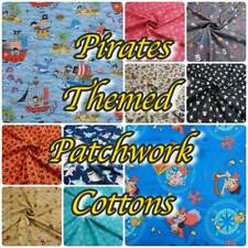 PIRATES Skulls Crossbones Ship Treasure Map 100% Cotton Patchwork Craft Fabric