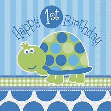 1st Birthday Blue Turtle Napkins X 16 Fast Post Party Tableware
