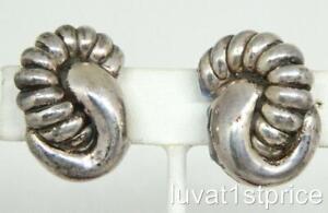 E & L Sterling Silver Electroform Israel Flower Motif Ladies Clip On Earrings