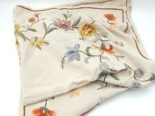 gestickte Decke Tischdecke Herbstfarben Blumen Leinen Stickerei 50er