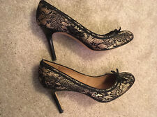 Authentic Ann Taylor Lace Black & Dark Gold Heels