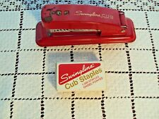 """Swingline Stapler Cub Red Small Size 5-1/4"""" Long 1-3/4"""" Tall Made in USA Vintage"""