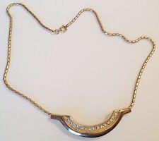 collier vintage couleur or rhodié déco central avec cristaux diamant brille 458