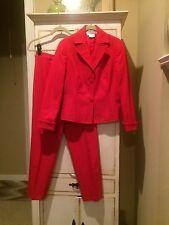 CARLISLE ~ True Red Cotton Stretch Suit Crop Pants ( Sz 8 ) & Jacket ( Sz 4 )