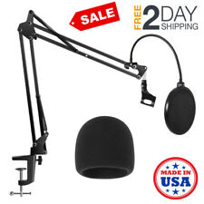 Microphone Desk Arm Stand Mount With Pop Filter Hold Mic For Blue Yeti Snowball