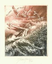 """Ex libris Erotic Exlibris """"Flight"""" by MARIMAN GUIDO / Belgium"""