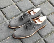 Handmade Oxford Suede Leather Shoes Men's Gray Denim Dress Cap Toe Formal Shoes
