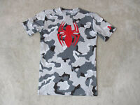 Under Armour Spiderman Compression Shirt Adult Large Dri Fit Gray Camo Gym Mens