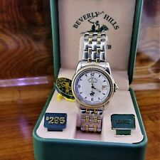 New Mens POLO Coin Bezel Gold Plated Stainless Steel Watch Beverly Hills Polo