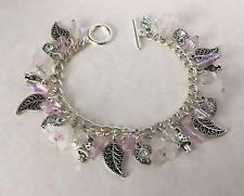 Pink Clear Hearts & Flowers Charm Bracelet Silver Plated